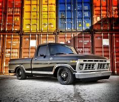 Black Lowered Ford Classic Old Truck. Tips and ideas for classic trucks owners. Custom Ford Trucks, Ford Trucks For Sale, Classic Ford Trucks, Old Ford Trucks, Old Pickup Trucks, 4x4 Trucks, Classic Cars, Lowered Trucks, Lifted Chevy Trucks