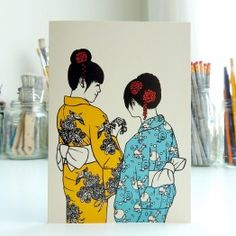'Yukata girls' Japanese postcard. Made by Mietta Várszegi.  You can order by clicking on the picture.