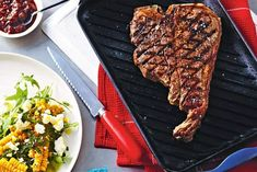 Curtis Stone's T-bone steaks with smoky barbecue sauce and corn salad are a match made in heaven. Barbecue Recipes, Barbecue Sauce, Steak Recipes, Keto Recipes, Healthy High Protein Meals, High Protein Recipes, Corn Salad Recipes, Corn Salads, T Bone Steak
