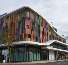 This stunning and colourful facade around the new Woolworths store at Crows Nest has transformed the area. Designed by Tony Leung, CEO of a+ Design, the facade features panels in saturated colour, 2016