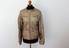 Gold Bomber Jacket Cropped metallic textured Faux leather