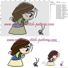 Chibi Mulan cross stitch pattern