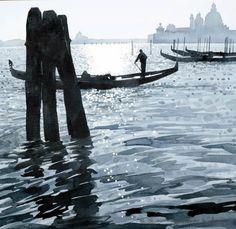 Ian Sidaway - Venice-Afternoon on the Lagoon, watercolour