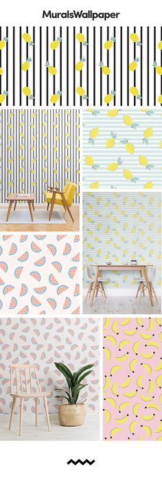 The fruit patterns are fun and creative, oozing a sense of youthfulness out into your interior space. The repeat style of the designs adds an element of sophistication too. The continuous flow of the fruity patterns set a certain subconscious sense of self-awareness and confidence in the designs, and creates a room that is full of character. #wallpaper #walldesign #interior #patterns #fruitwallpaper #homedecor #accentwall #fun #colour