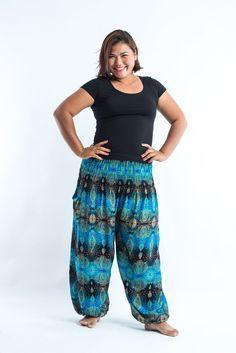 Plus Size Paisley Women's Harem Pants in Turquoise