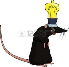 Rat avec une ampoule sur la tête illustration vectorielle