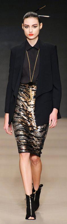 Elisabetta Franchi ~ Fall Sequinned Pencil Skirt w Black Blazer 2015