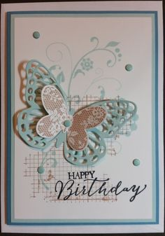 Birthday Card - made using Stampin' Up! products including Flowering Flourishes, Off the Grid and Butterfly Basics Stamp Sets and Butterflies Thinlets.