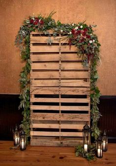 27 Rustic Wedding Decorations You Must Have A Look---greenery and candles backdrop wedding photo booth 35 Rustic Wedding Decorations Pallet Backdrop, Ceremony Backdrop, Wedding Ceremony, Wedding Church, Backdrop Ideas, Rustic Backdrop, Booth Ideas, Backdrop Photobooth, Photo Backdrops