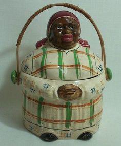 Rare Plaid Black Mammy Cookie Jar with Feet  Basket Handle Vintage  SALE