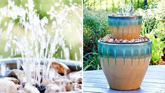 DIY Water fountain made from stacked flowerpots (Lowes) free directions and supply list