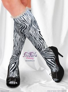 "♥ These cute, colorful, elegant, socks, are made with a soft and silky lightweight technical fabric that is moisture wicking and offers U.V. protection. ""Zebra"" print.♥"
