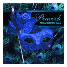 Royal Blue Peacock Masquerade Party Personalized Invite