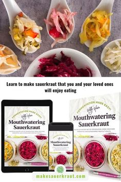Are you frustrated by mold or strange things growing on your ferment? Do results smell too noxious to eat? Are you confused about whether to ferment with the lid on or off? Worry no longer. Fermentation Made Easy! Mouthwatering Sauerkraut provides comprehensive recipes and answers to have you fermenting like a pro in no time. #fermenationbook #sauerkraut #sauerkrautrecipes #guthealth #fermentation Making Sauerkraut, Fermented Sauerkraut, Homemade Sauerkraut, Fermented Cabbage, Sauerkraut Recipes, Fermented Foods, Wonderful Recipe, Evening Meals, Recipes For Beginners