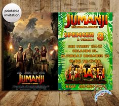 Jumanji invitation, Jumanji, Jumanji party, Jumanji birthday, Jumanji movie, Jumanji movie invite