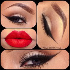 Sexy red lipstick eye makeup