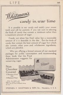 Free Vintage Clipart, Vintage Magazine Ads and Vintage Artwork Perfect for Home & Man-Cave Decor: Vintage 1918 Whitman's Chocolate Covered Nuts Candy War Time Original Print Ad