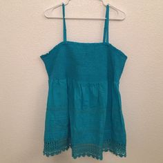 Plus Size Lane Bryant Tank/Tube Top Lace and stitching detail. Straps detach to easily convert to a tube top. Pretty turquoise color. Never worn! Size 22/24. Lane Bryant Tops Tank Tops