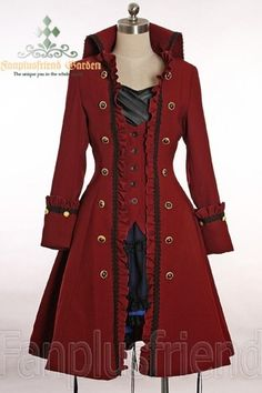 Pirate Lolita/Gothic Prince/Ouji High Collar Unisex Coat Only problem : I cant decide what color I like! Pirate Lolita/Gothic Prince/Ouji High Collar Unisex Coat Only problem : I cant decide… Steampunk Clothing, Steampunk Fashion, Steampunk Jacket, Steampunk Pirate, Steampunk Necklace, Steampunk Cosplay, Renaissance Clothing, Lolita Fashion, Gothic Fashion