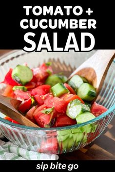 Here's a tasty make ahead salad. Try this simple tomato cucumber marinated in vinegar. It's an easy vegetable side dish that uses champagne vinegar dressing. This simple tomato cucumber salad is a great way to use up vegetables from the garden, farmers market, or fridge. | sipbitego.com #sipbitego #recipe #easyrecipe #dinner #familymeals #easymeals #wfhlunch #vegetables #tomatoes #vegetablegarden #cucumbers #vinegar #salad #makeahead #summerrecipe Easy Vegetable Side Dishes, Vegetable Sides, Vegetable Salad, Vegetable Recipes, Salad Recipes, Healthy Recipes, Healthy Food, Soup And Salad Combo, Vinegar Salad Dressing