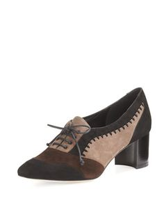 Suzanne+Colorblock+Suede+50mm+Oxford,+Black/Brown/Taupe+by+Manolo+Blahnik+at+Neiman+Marcus.