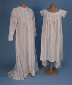 Nightdress, Chemise and Drawers Set: 1860's, cotton decorated with lavish ruching and broderie anglaise on nightdress collar, matching trim on yoke, sleeves and placket of chemise as well as cuff of drawers.
