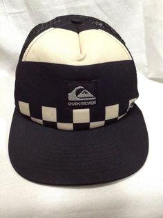 Quiksilver Black Beige Checkered Foam Trucker Ball Hat Snapback Golf Cap Surf #Quiksilver #BaseballCap