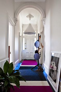 Fiona Lynch - The Design Files Halls, Entry Hallway, Entry Rug, White Hallway, Modern Hallway, Interior Decorating, Interior Design, Interior Architecture, The Design Files