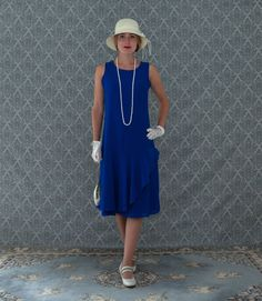 Sapphire blue drop waist dress with ruffled skirt detail, Great Gatsby dress, 1920s flapper dres, flapper gown, robe Charleston, 20er kleid