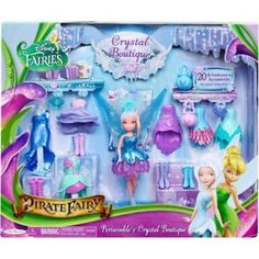 Disneys Pirate Fairies Periwinkle Crystal Boutique Doll and Playset The set comes with fashions and accessories to mix-n-match. Create amazing outfits for your fairy friends. Tinkerbell Toys, Disney Fairies, Toddler Toys, Kids Toys, Periwinkle Fairy, Pixie, Pirate Fairy, Baby Doll Nursery, Disney Toys