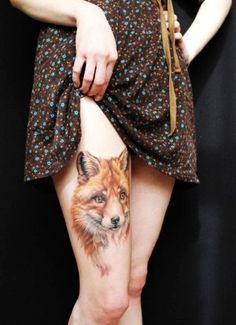 realistic red fox head watercolor Tattoo on thigh for beauty