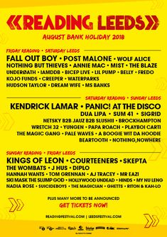 Kings of Leon, Kendrick Lamar and Fall Out Boy announced for