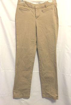 Dockers Khaki Tan Pants Size 4M USA Hip Hugger 4 Slit Pockets Belt Loops Fly Fr #DOCKERS #CasualPants