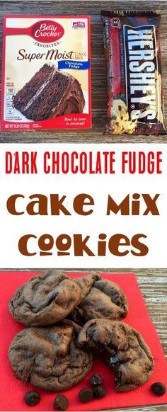 Dark Chocolate Fudge Cake Mix Cookies Recipe!  Just 4 ingredients! | NeverEndingJourneys.com