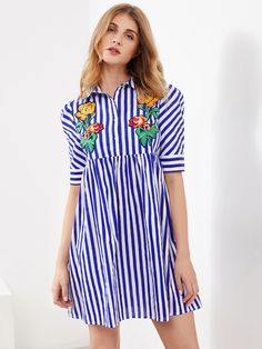 Shop Flower Embroidered Half Placket Smock Dress online. SheIn offers Flower Embroidered Half Placket Smock Dress & more to fit your fashionable needs.