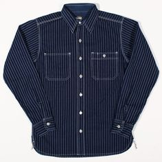 Momotaro Jeans 05-080 Wabash Work Shirt Indigo Stripe : SUNSETSTAR
