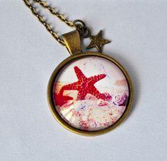 """Gliederketten - Cabochon, Kette mit Glasanhänger """"Seestern""""  - ein Designerstück von mias-dekostube bei DaWanda"""