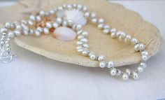 Freshwater pearl necklace sterling silver by HollyMackDesigns, $126.00