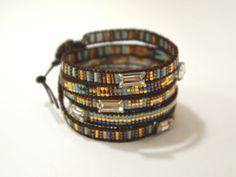 Envelopper le bracelet avec perles de Rocaille Miyuki sur cordon en cuir