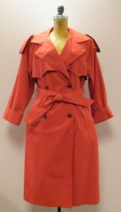 *WOW* Lipstick Red SANYO Carol Cohen Belted Trench Coat Size Sm/Petite NWT/NOS #NeimanMarcus #Trench