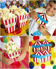 Big Top Circus Carnival birthday party ideas with lots of DIY decorations, party printables, sweet party food and favors! Clown Party, Circus Carnival Party, Circus Theme Party, Carnival Themes, Clowns For Birthday Parties, Circus Birthday, Birthday Party Themes, Birthday Ideas, Magic Birthday