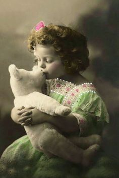 vintage girl with teddy bear