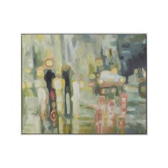 Shop Abstract City Painting.  Sarah Atkinson's blurred reflections of city lights on rain-soaked streets evoke the wide-eyed wonder of a young child.