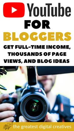 YouTube for bloggers. How to get thousands of page views and blog ideas to have a full-time income blogging.  #youtubeforbloggers #bloggingtipsforbeginners #howtostartablog