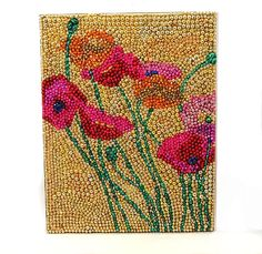 Mardi Gras Beaded Poppy Flowers Mosaic 19x15 New Orleans Wall Art - Pink, Purple, Gold and Green. $98.00, via Etsy.