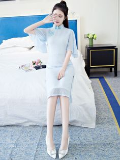 Blue Chiffon Qipao / Cheongsam Dress with Kimono Sleeve