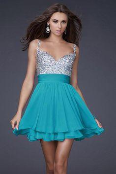 La Femme 16813 Ocean Blue Cocktail A line Sequin Dress