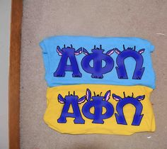 Stitch #alphaphiomega letters....omg how cool! They're stitch ears that are STITCHED on xD #Punny