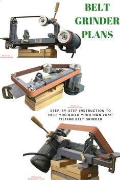 This is a PDF step-by-step instruction to help you build your own tilting belt grinder like this one. This is one of the most versatile belt grinders ever made Knife Grinding Jig, Knife Grinder, Woodworking Techniques, Woodworking Tools, 2x72 Belt Grinder Plans, Knife Making Tools, Metal Workshop, Blacksmith Tools, Metal Working Tools