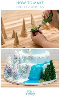 Make edible trees with icing for a winter or Frozen cake.: